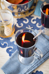 A Cup of Mulled Wine with Orange Slices