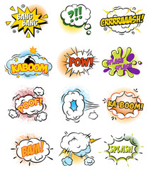 Set of Retro Comic Book Vector Design elements, Speech and