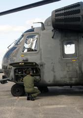 Navy pilot prepares for flight