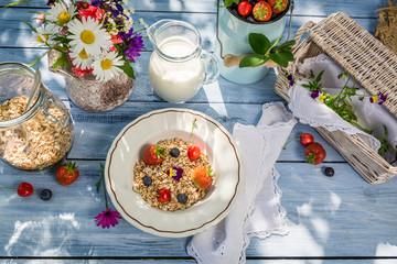 Preparations for breakfast in the garden