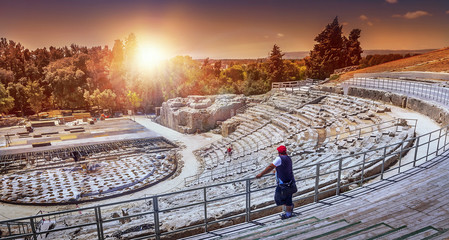Greek theatre, Syracuse, Sicily ,Italy. Fototapete