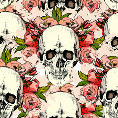 Pattern with skull. hand draw.
