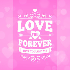 Love you forever typography greeting card background poster
