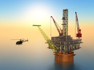 Oil Platform and Helicopter