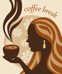 female silhouette in profile holding a cup of coffee