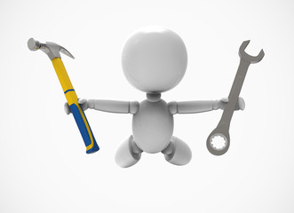 new flying 3D people shows tools -hammer and wrench