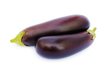 Two fresh eggplants closeup
