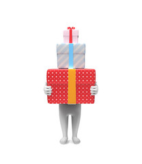 Small person carries three hard box-gifts