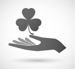 Hand giving a clover