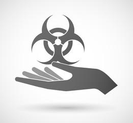 Hand giving a biohazard sign