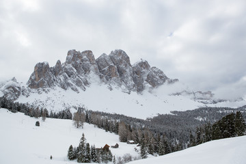 Winter landscape in the Odle (Italy)