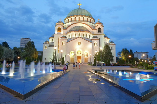 Cathedral Of St. Sava In Belgrade At Evening, Serbia