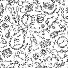 Vector pattern with hand drawn and fashionable jewelry on white