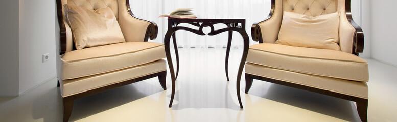 Vintage armchairs inside elegant residence