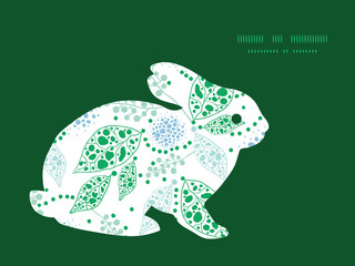 Vector abstract blue and green leaves bunny rabbit silhouette
