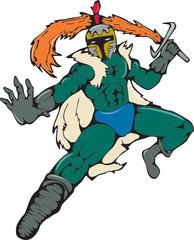 Knight Wield Fiery Sword Cartoon
