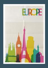 Travel Europe landmarks skyline vintage poster