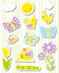 Spring stickers set