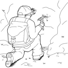 Outline Cartoon of Geologist Working