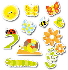 spring stickers collection- vectors