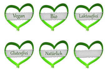 Herz mit Schild - Vegan, Bio, Glutenfrei, Laktosefrei, Natürlich