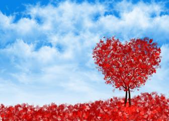 фон сердечное дерево