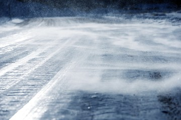 Icy Road Drifting Snow