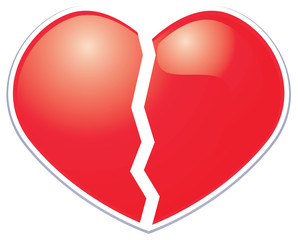 Broken heart sticker symbol