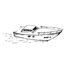 Motor boat on the sea. Vector illustration.