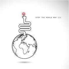 World symbol with hands press the button, stop the world war III