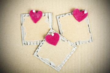 cardboard plaque and felt heart - Valentine background