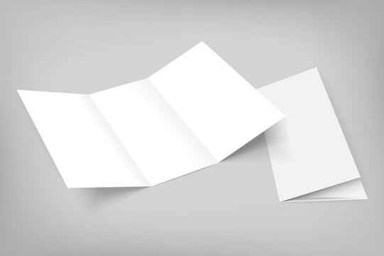blank vector tri fold mockup on gray