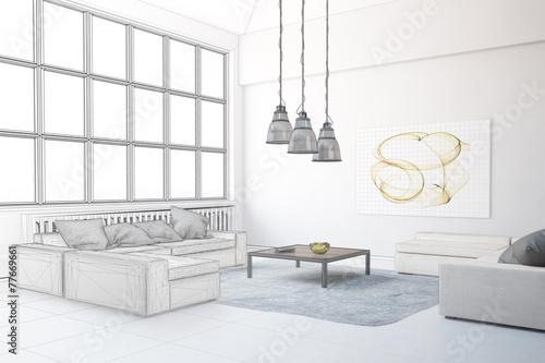 Planung von wohnzimmer im loft stock photo and royalty free images