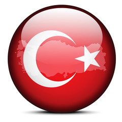 Map on flag button of Republic of Turkey