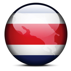 Map on flag button of Republic of Costa Rica