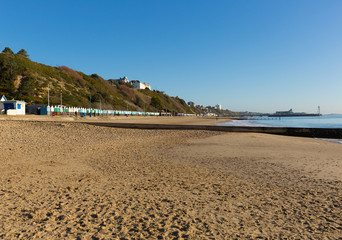 Bournemouth sandy beach Dorset England UK blue sky