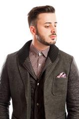 Portrait of a handsome male model wearing a jacket