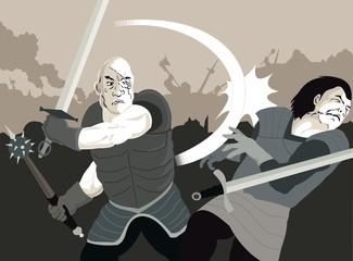 Warriors in battle