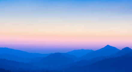 Beautiful view of sunset over mountains - Blur nature background