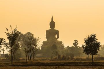 back of big golden buddha statue on sunrise with fog