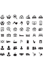 Real Estate icon set, Family symbols, Vector