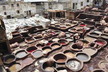Fotobehang Marokko Marocco. Concerie di Fes