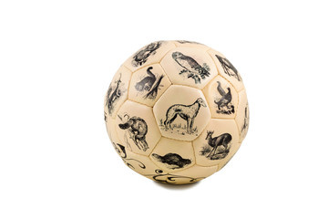 Soccer ball with pictures of animals