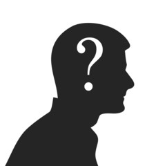 Thinking man concept with man face silhouette.