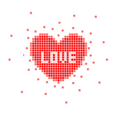 Pixel heart with love word