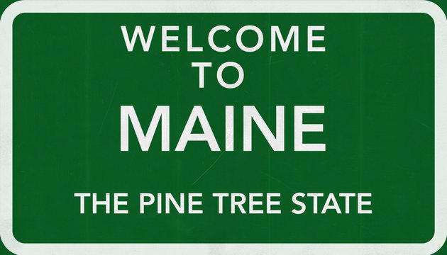 Welcome to Maine USA Road Sign