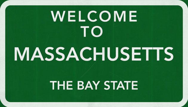 Welcome to Massachusetts USA Road Sign