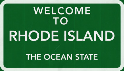 Welcome to Rhode Island USA Road Sign