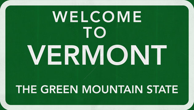 Welcome to Vermont USA Road Sign