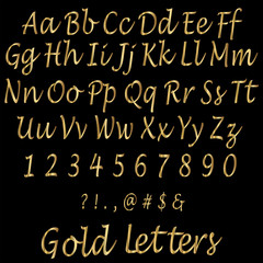 Shiny Golden Alphabet Letters